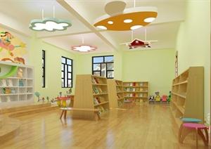 某幼儿园图书室装饰设计SU(草图大师)模型(含效果图)