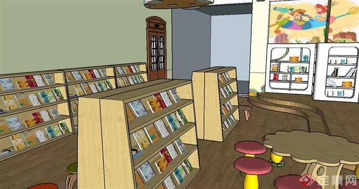 某幼儿园图书室装饰设计su模型(含效果图)[原创]