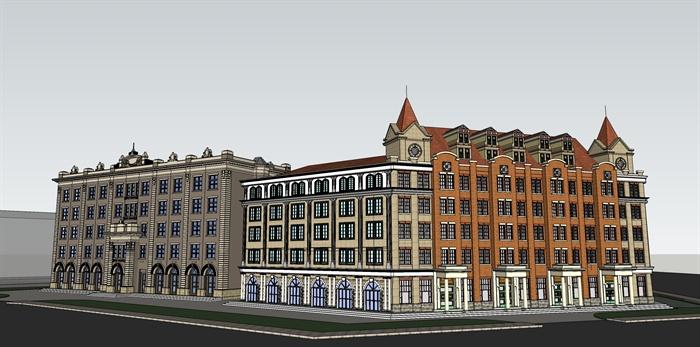 某地欧式商业街建筑设计su模型1