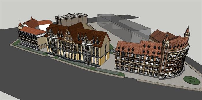 某地欧式商业街建筑设计su模型[原创]