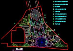 某地三角形广场景观绿地铺装设计平面图图片
