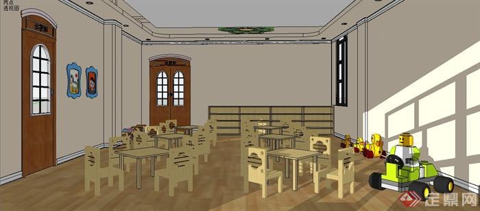 某幼儿园教室室内设计su模型[原创]