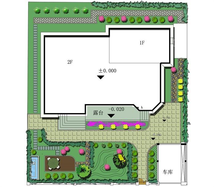 某别墅景观设计绿化平面图,包含了cad和psd两种格式.图纸