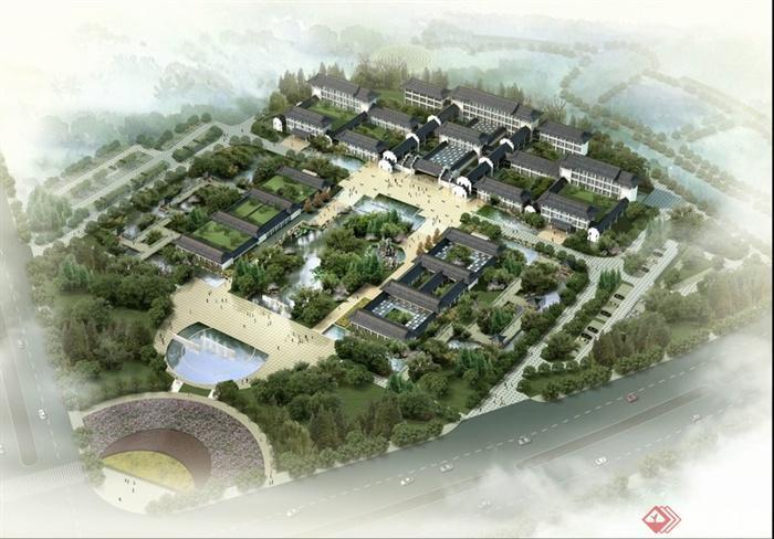 园林景观现代中式商业街景观效果图 psd格式
