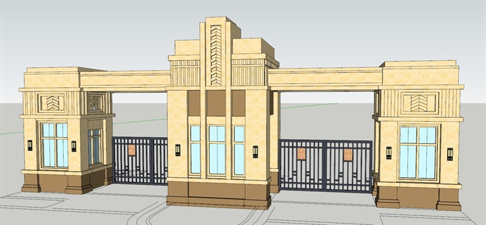 四个入口欧式大门设计su模型[原创]