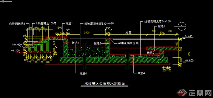 某园林水景戏水池施工图设计CAD图纸