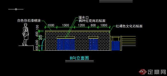 某园林景观景墙水景施工图设计CAD图纸
