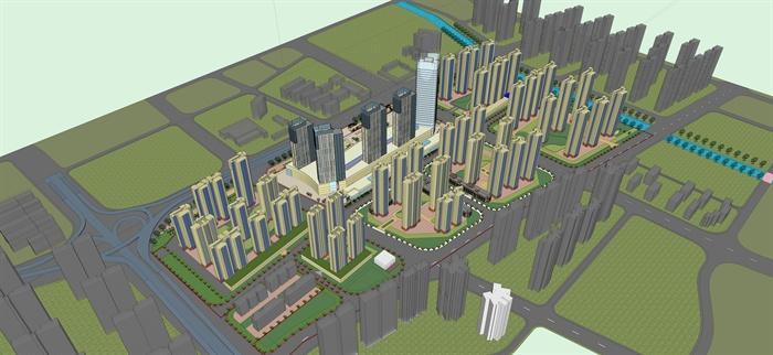 某城市中心区建筑规划设计方案su模型(含效果图)