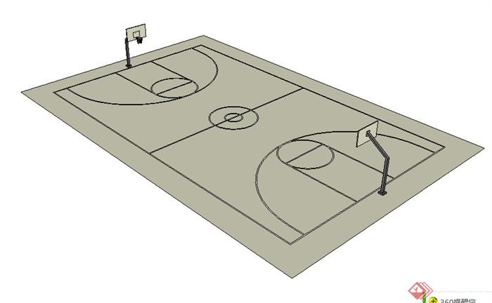 某运动场篮球场设计SU模型素材(1)