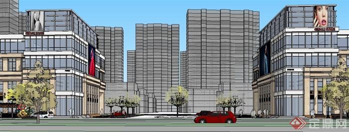 某地简欧风格商业街建筑设计su模型