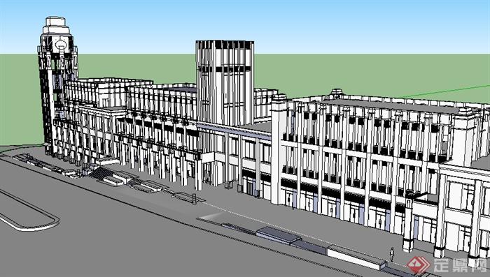 某欧式风格商业建筑设计SU模型素材,模型设计的比较认真,颜色搭配的也比较简洁,可以供广大建筑设计爱好者使用,也可用作同类项目参考使用。