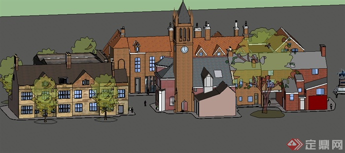 某欧式别墅群建筑设计su模型素材