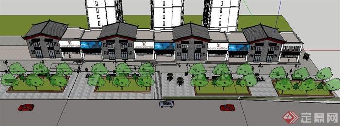 某联排沿街商业建筑设计su模型(1)