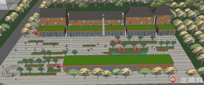 某沿街商业建筑设计su模型(带街道景观)(1)