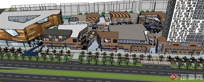 某现代城市商业广场建筑设计su模型(4)
