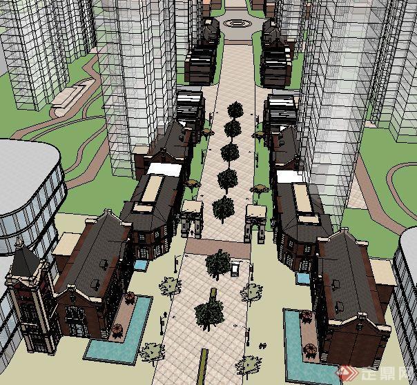 某欧式商业街建筑设计设计su模型