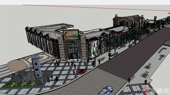 某现代商业街建筑设计方案su模型11