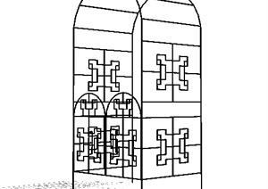 园林景观之铁艺花架设计su(草图大师)模型图片