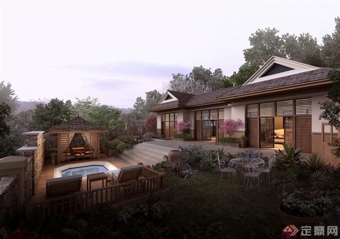 某会所庭院景观设计PSD效果图图片