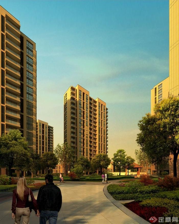某现代居住小区中心绿地设计效果图psd