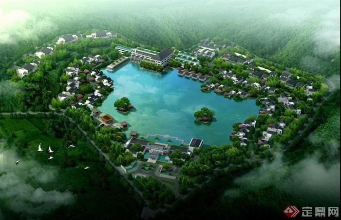 游景区滨水湖泊景观鸟瞰效果图PSD格式