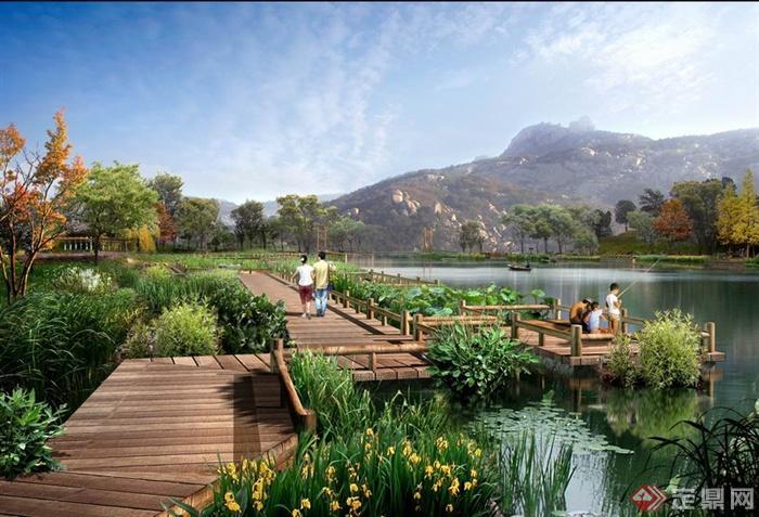 某湿地公园木栈道景观设计效果图psd格式