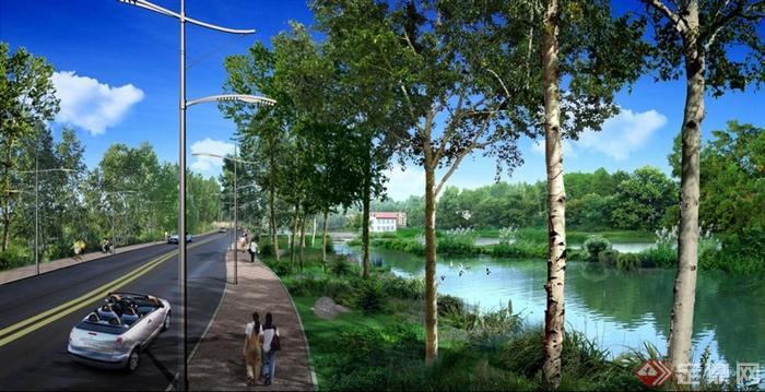 园林景观道路景观滨水景观效果图PSD格式