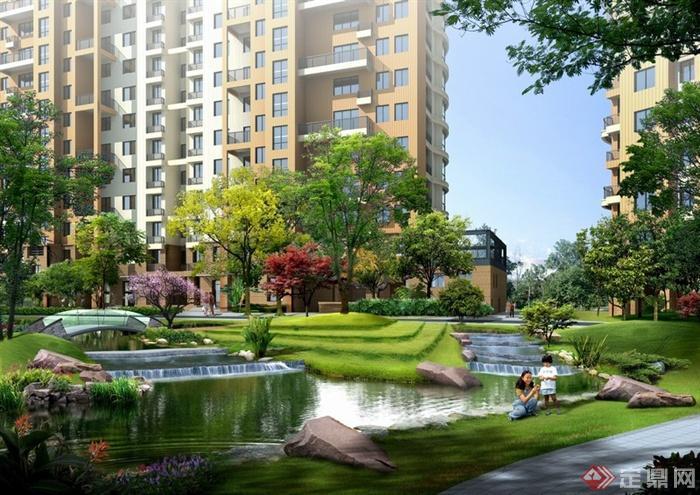 某现代住宅小区中心水景景观效果图psd格式
