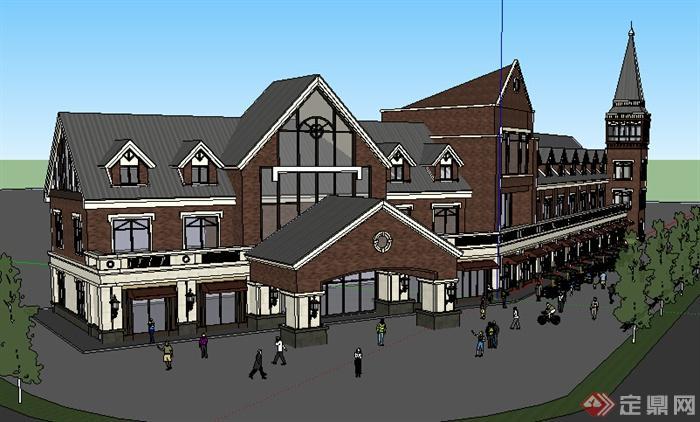 某欧式商业街建筑设计方案su模型2(1)图片