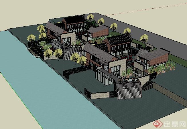 某现代中式商业建筑设计方案su模型20 1