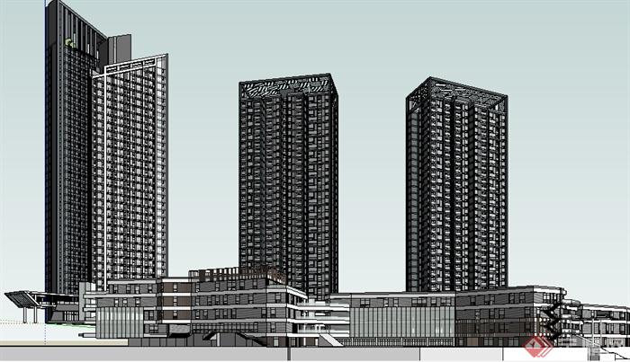 某现代风格大型商业中心商业建筑设计su模型素材