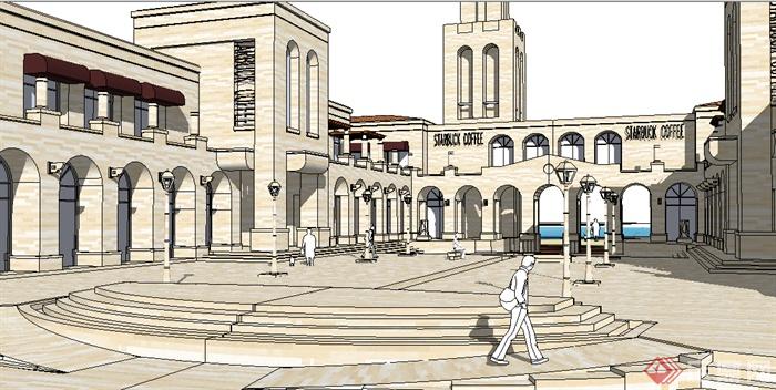 某欧式商业广场商业建筑设计su模型素材图片
