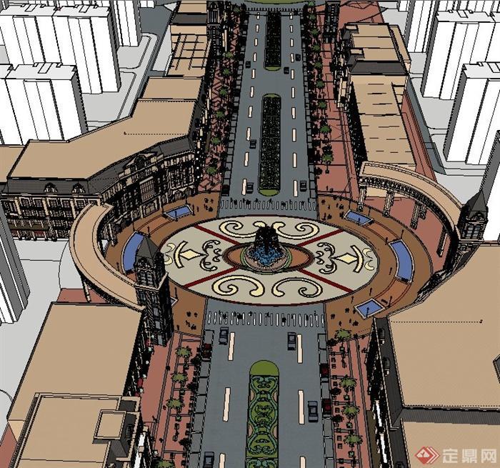某欧式风情商业建筑规划设计su模型