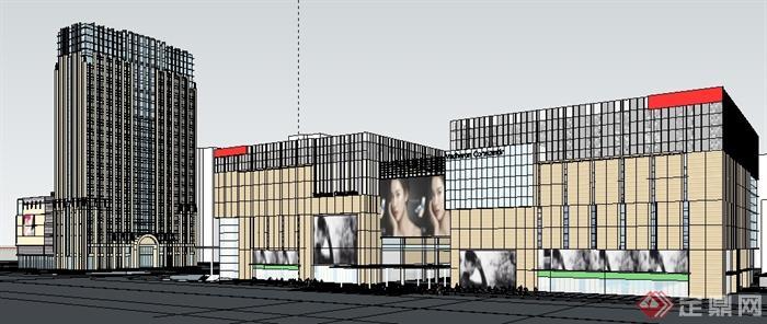 某商业区商业建筑设计su模型(1)