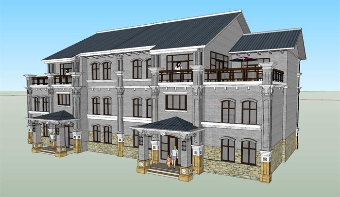 某现代中式西北民居建筑设计方案su模型(1)图片