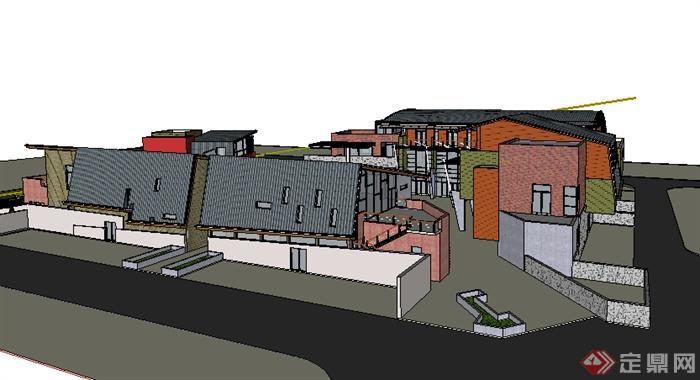 某现代商业建筑商业楼设计su模型素材(1)