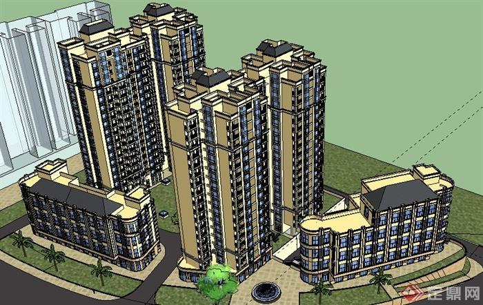 某欧式商住建筑设计su模型