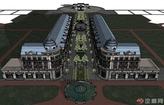 某欧式商业街规划设计su模型