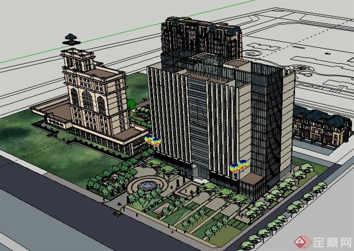 某欧式住宅商业办公综合建筑景观设计su模型