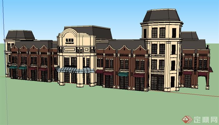 某欧式商务楼商业建筑设计su模型素材