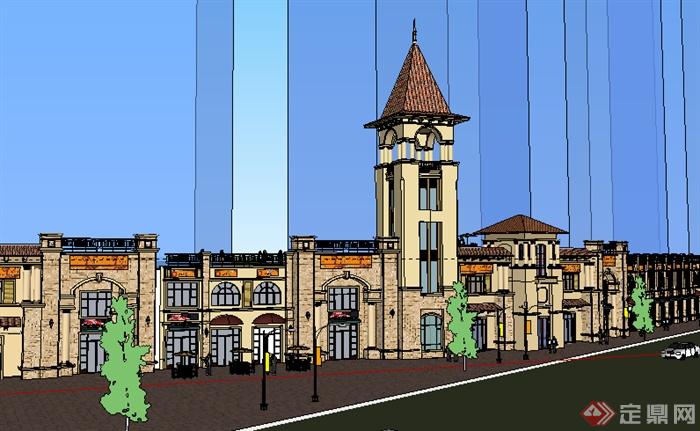 某欧式商业建筑商务楼设计su模型素材