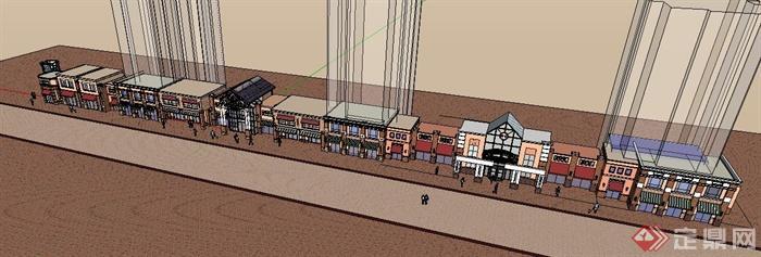 某欧式商业街建筑设计su模型