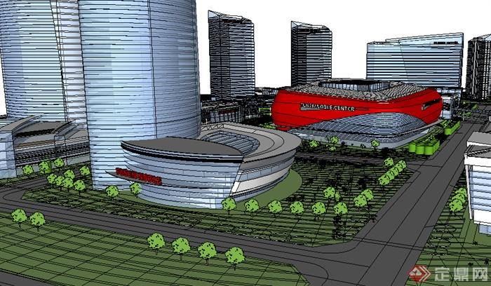 某现代商业商务建筑群设计su模型素材