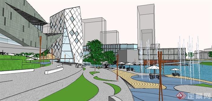 某现代商业休闲中心建筑规划设计su模型