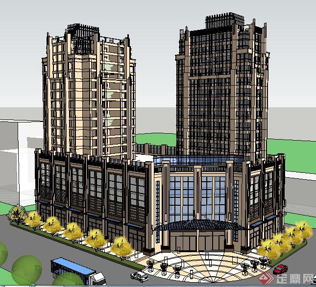 某现代商场商住建筑设计方案su模型