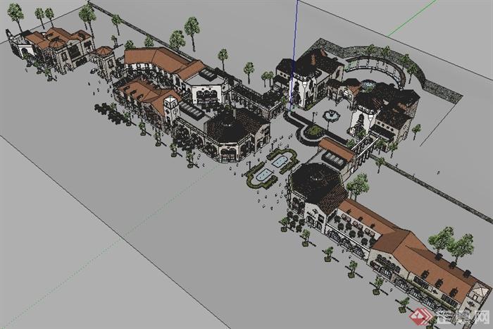 某欧式风格小镇政府广场商业街建筑设计su模型图片
