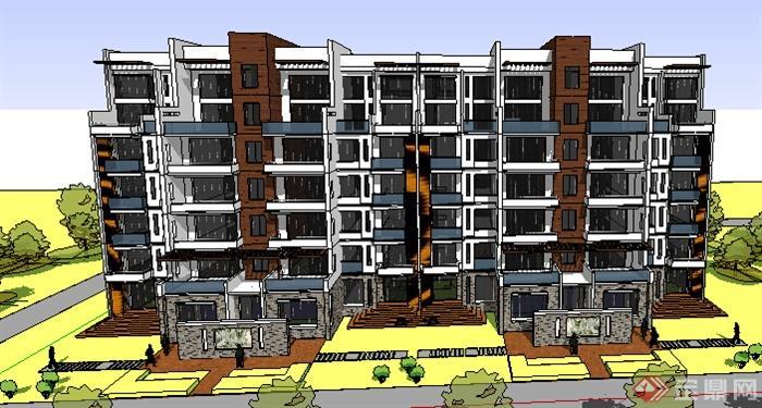 某现代风格多层住宅建筑设计方案su模型(2)