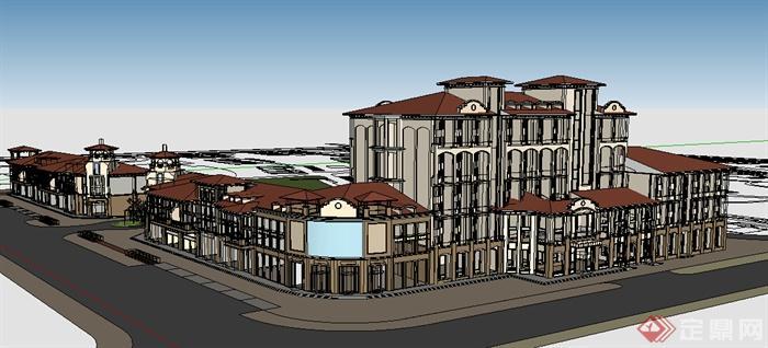 某简欧式风格多层商业街建筑设计方案su模型