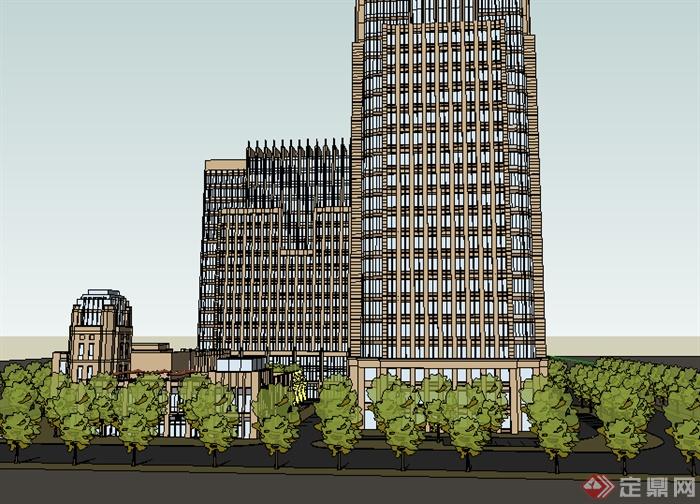 某现代商业商务建筑设计su模型素材