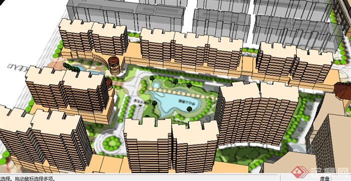 某现代居住小区景观规划su模型素材